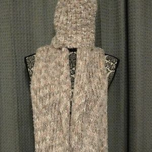 Pink  and taupe infinity scarf and matching hat
